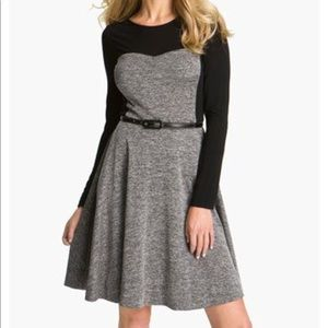 Suzi Chin For Maggy 6 Tweed Inset Fit Flare Dress